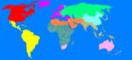 O mundo dividido em 10 regiões