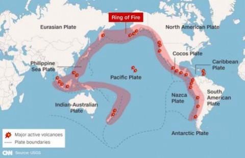 Mapa de vulcões ativos no %u2018Anel de Fogo%u2019do Pacífico.
