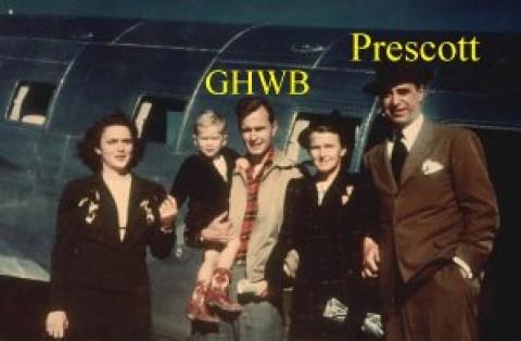 As três gerações da família Bush, com GHWB e seu filho no colo, ambos mais tarde foram %u2018conduzidos%u2019 à Casa Branca e a presidência dos EUA.