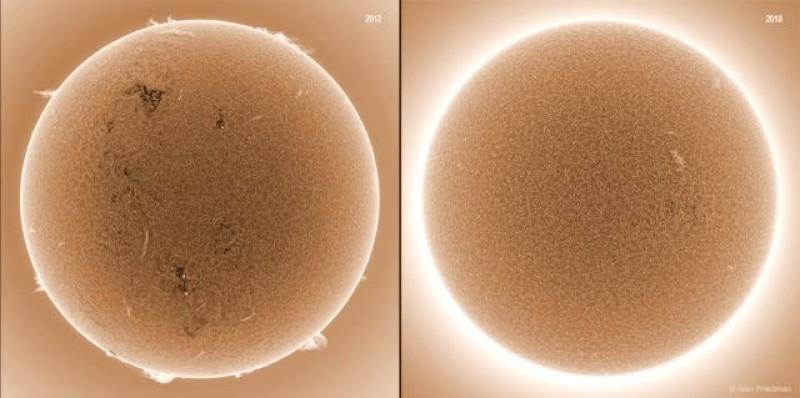 Imagens registradas pelo satélite SDO, da NASA. No registro de 2012 a estrela era uma máquina de explosões solares e as proeminências dominavam a borda da estrela. Na cena de 2018 o Sol é uma bola lisa, sem nenhuma anomalia significativa.