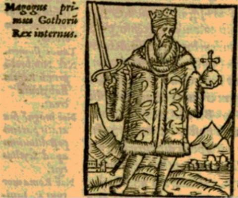 Ilustración de Magog como el primer rey de Suecia, de Johannes Magnus.