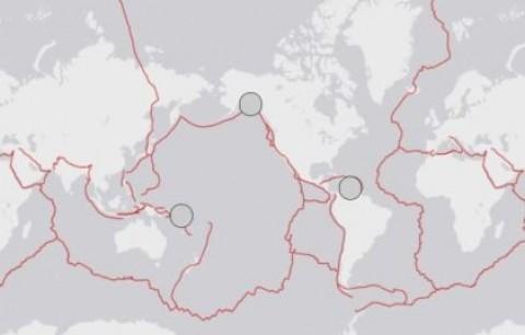 Três grandes terremotos registrados em 1900 em todo o mundo. via USGS.
