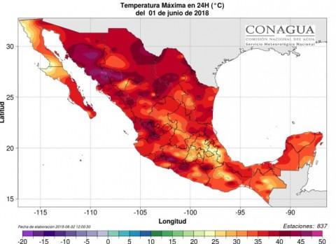 Mapa do México mostrando a onda de calor do século se espalhando por todo o país.