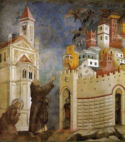 Demônios fogem exorcizados de Arezzo pelos méritos da oração de São Francisco.