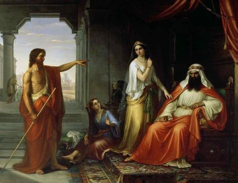 São João Batista increpa o rei Herodes.