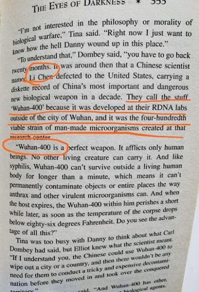 O Wuhan-400 de Dean Koontz parece ter semelhanças com o vírus Wuhan. (Foto do Twitter)