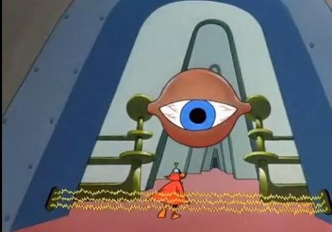Programa de los 60s Duck Doggers muestra el ojo de Horus en una nave espacial triangular.