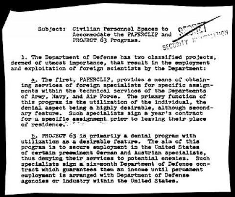 Documento do governo dos EUA citando o Projeto Paperclip.