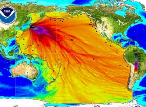 Dados da National Oceanic and Atmospheric Administration (NOAA), dos EUA, medem a radiação de Fukushima.
