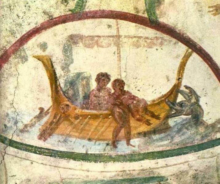 BARCA - Representa a Igreja, evocando a Arca de Noé como meio de salvação e também a barca em que os discípulos, capitaneados por Cristo, atravessam em segurança as tormentas do mar da vida.