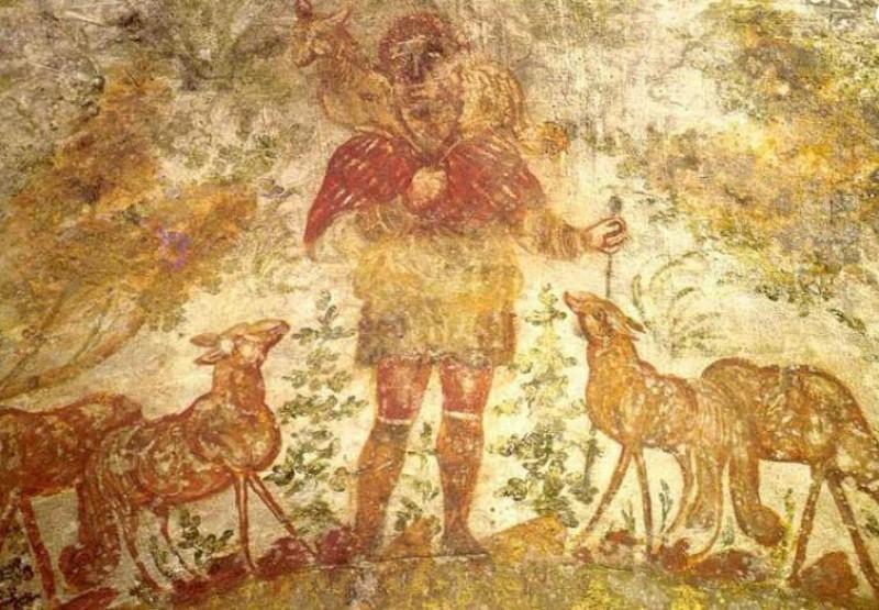 O BOM PASTOR - Com a ovelha nos ombros, ele representa Cristo Salvador e a alma que Ele salvou. O significado é bem explicado no Evangelho: Jesus é o pastor e todos os seus discípulos, de todos os tempos e lugares, são suas ovelhas.