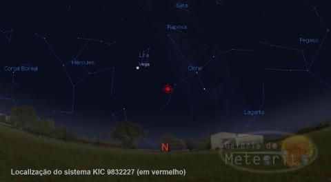 Localização do sistema KIC 9832227, na constelação de Cygnus. Créditos: STELLARIUM / Galeria do Meteorito