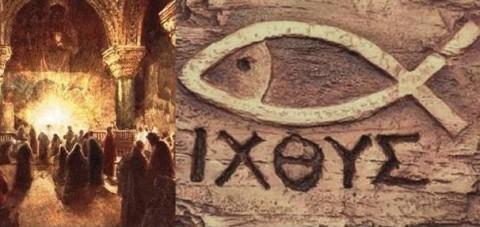 O ideograma escolhido pelos primeiros cristãos, que compreendia cinco letras gregas, significa peixe (i.c.t.u.s.), que se deve decompor da seguinte maneira: Iesus Cristus Theous Unios Soter %u2013 Jesus Cristo, filho de Deus Salvador.