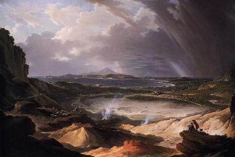 Os Campos Flégreos, na região de Nápoles, pintura de Michael Wutky, 1780.